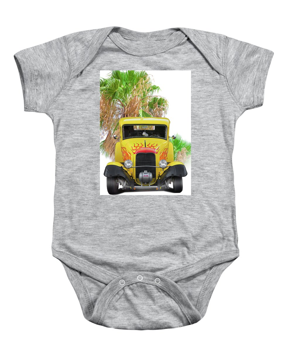 Auto Baby Onesie featuring the photograph 1932 Ford Five-window Coupe 'head On' I by Dave Koontz