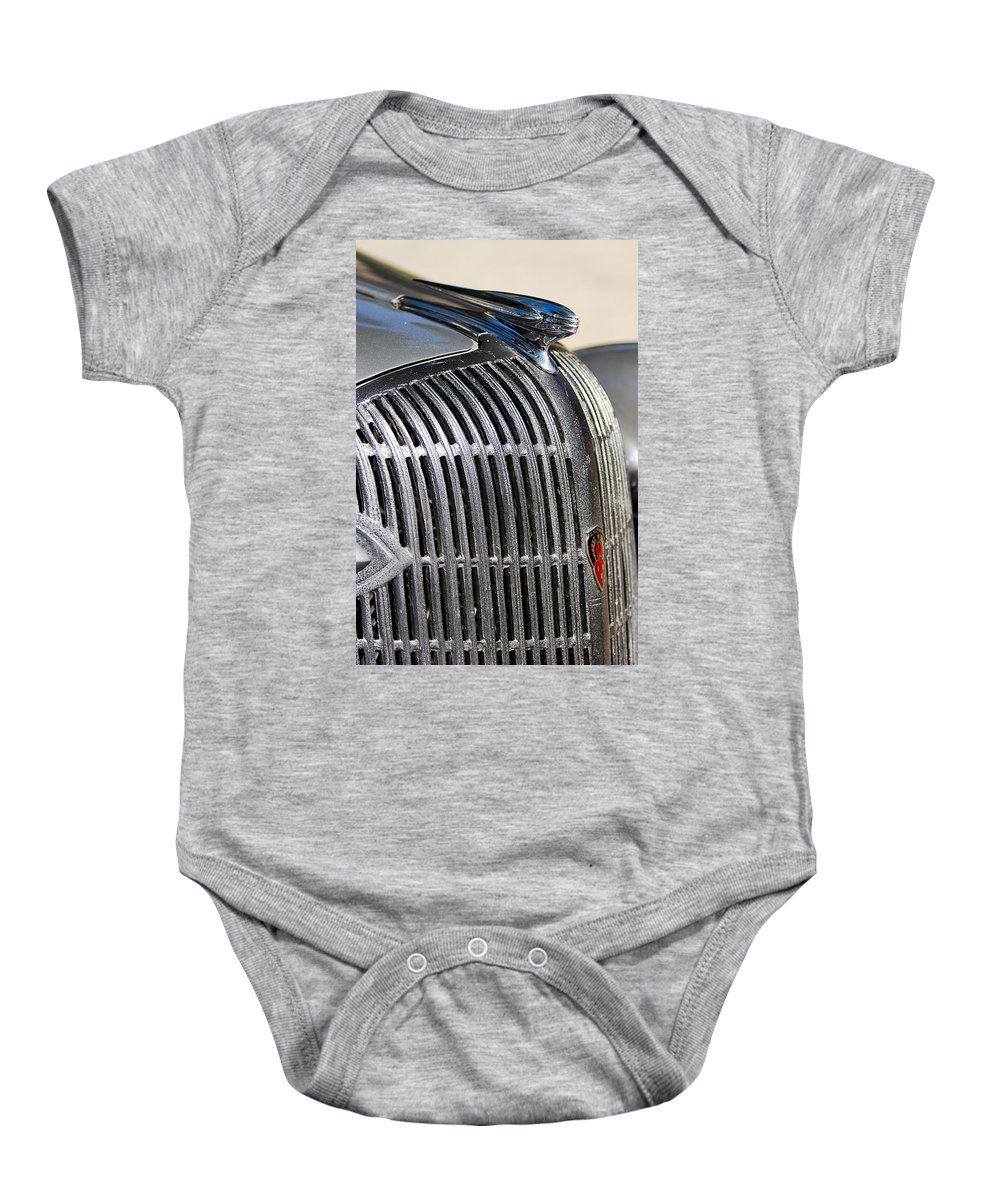 1936 Oldsmobile Baby Onesie featuring the photograph 1936 Oldsmobile Hood Ornament by Jill Reger