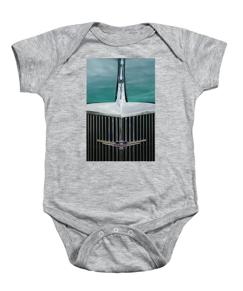 1937 Chevrolet Baby Onesie featuring the photograph 1937 Chevrolet Hood Ornament 4 by Jill Reger