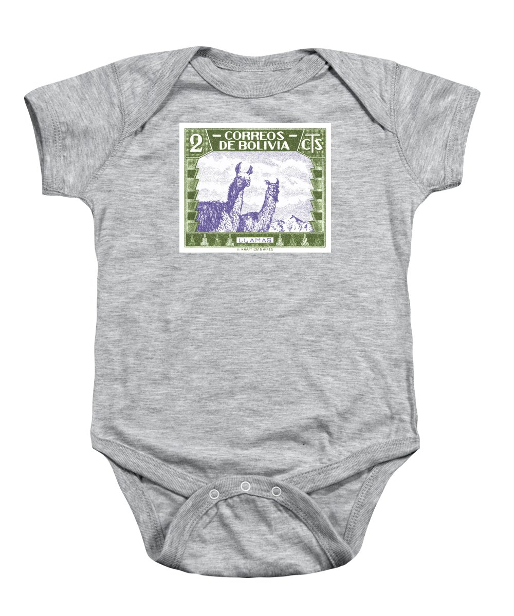 Bolivia Baby Onesie featuring the digital art 1939 Bolivia Llamas Postage Stamp by Retro Graphics