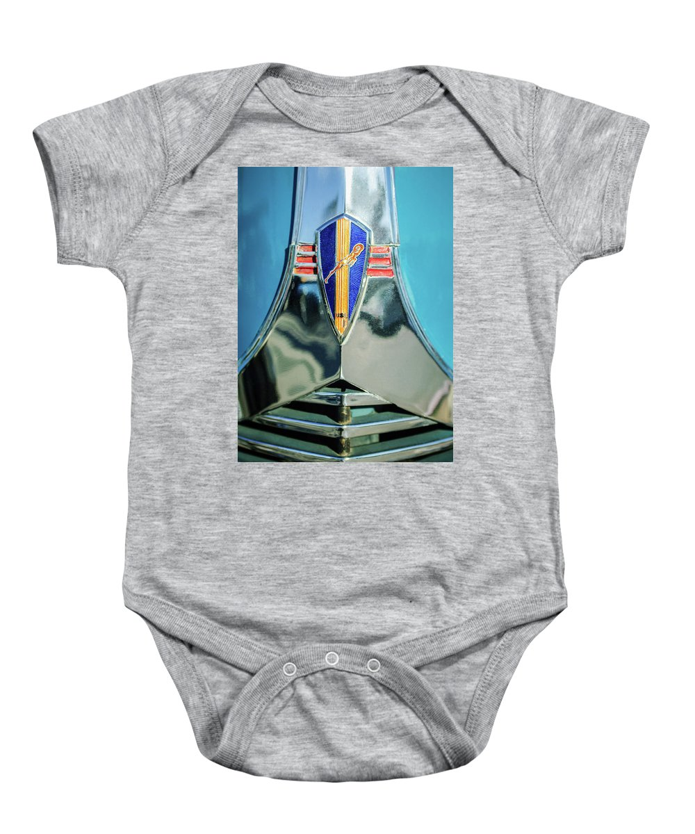 1940 Dodge Business Coupe Emblem Baby Onesie featuring the photograph 1940 Dodge Business Coupe Emblem by Jill Reger