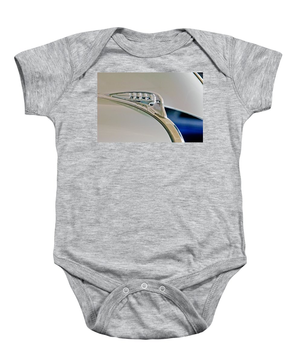 1940 Plymouth Business Coupe Baby Onesie featuring the photograph 1940 Plymouth Hood Ornament 3 by Jill Reger