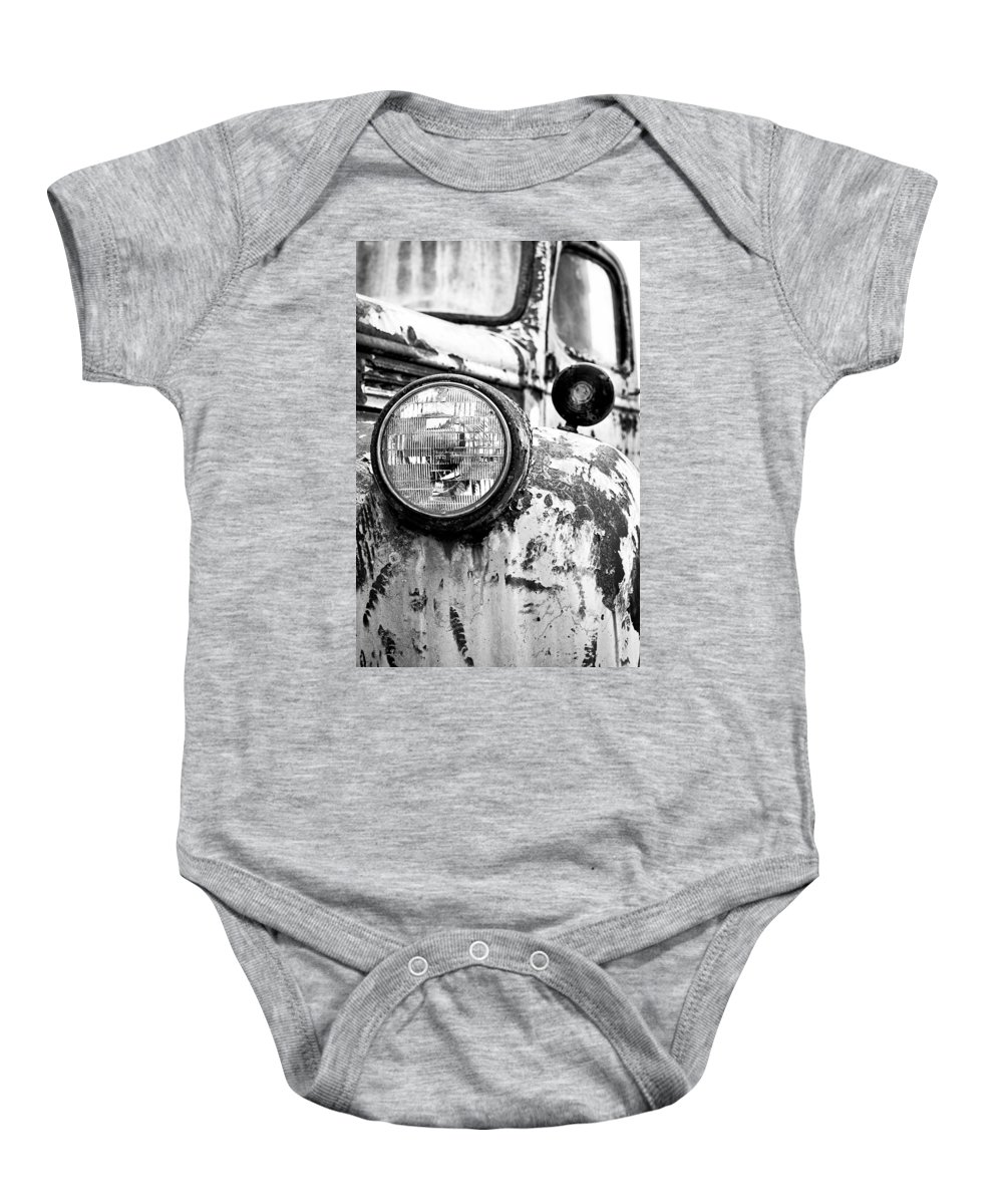 1946 Baby Onesie featuring the photograph 1946 Chevy Work Truck - Headlight Detail by Jon Woodhams