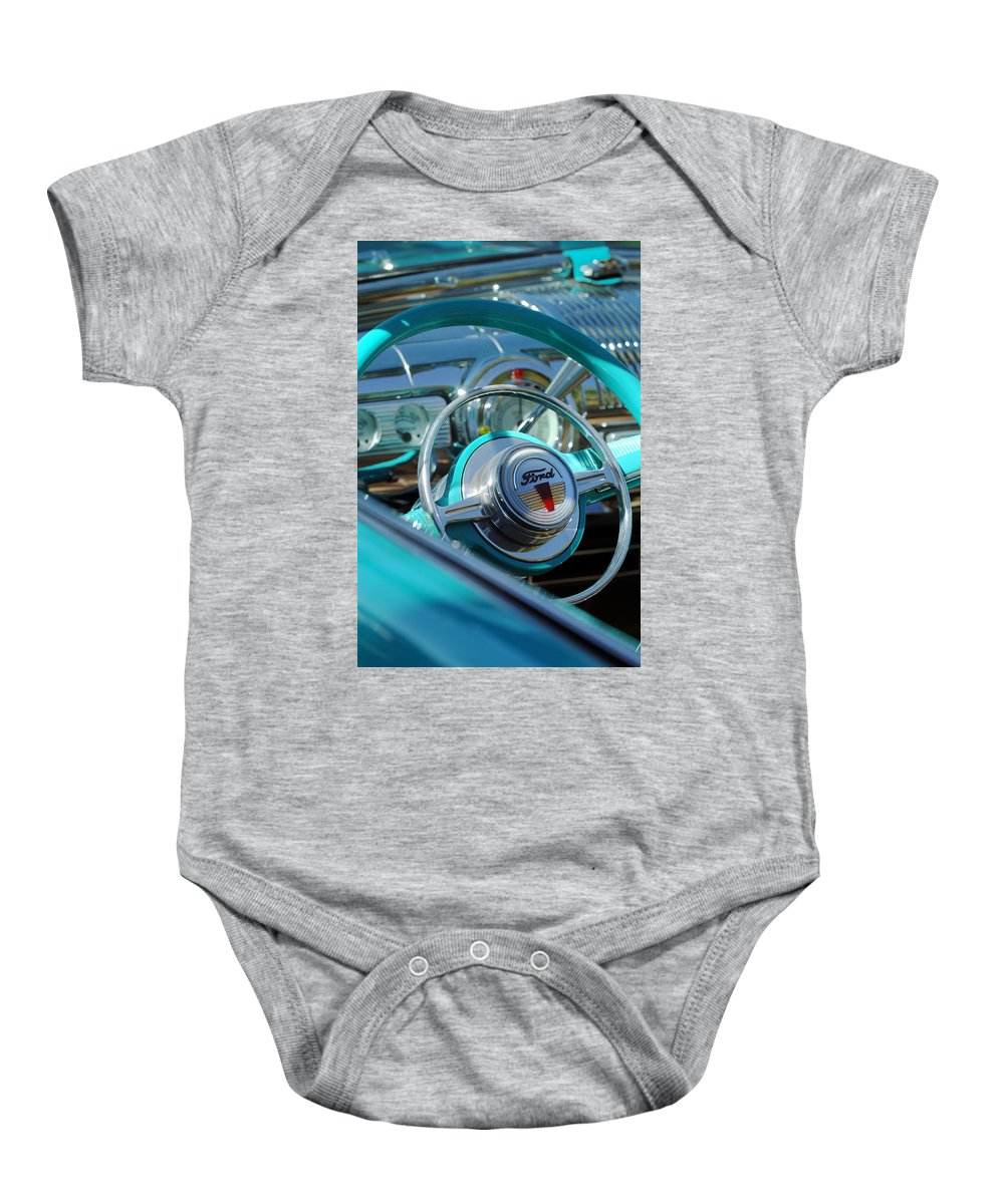 Car Baby Onesie featuring the photograph 1947 Ford Deluxe Convertible Steering Wheel by Jill Reger