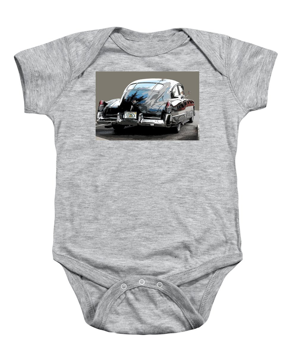 1948 Cadillac Baby Onesie featuring the photograph 1948 Fastback Cadillac by Robert Meanor