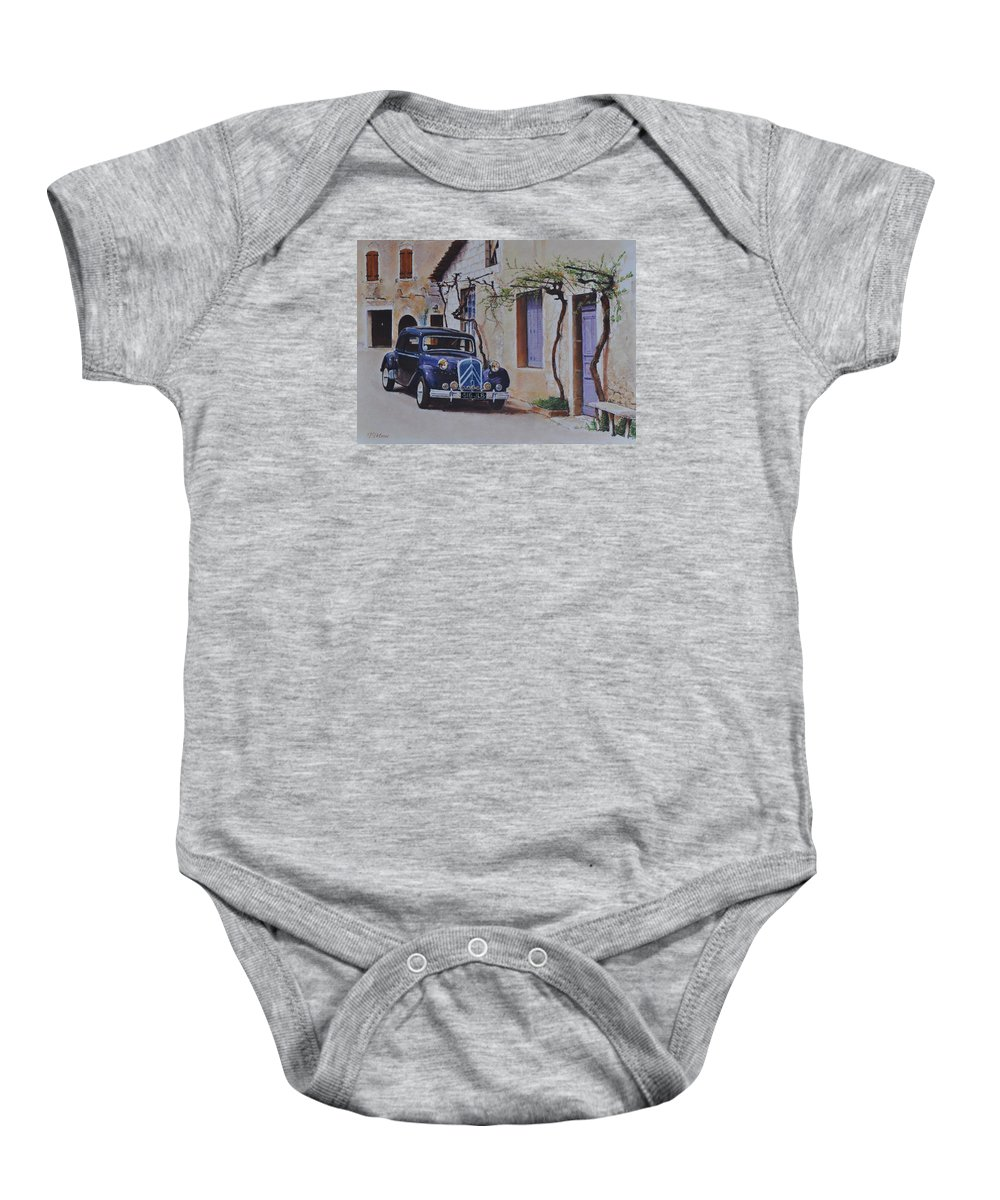 Classic Cars Baby Onesie featuring the pastel 1951's Citroen by Iliyan Bozhanov