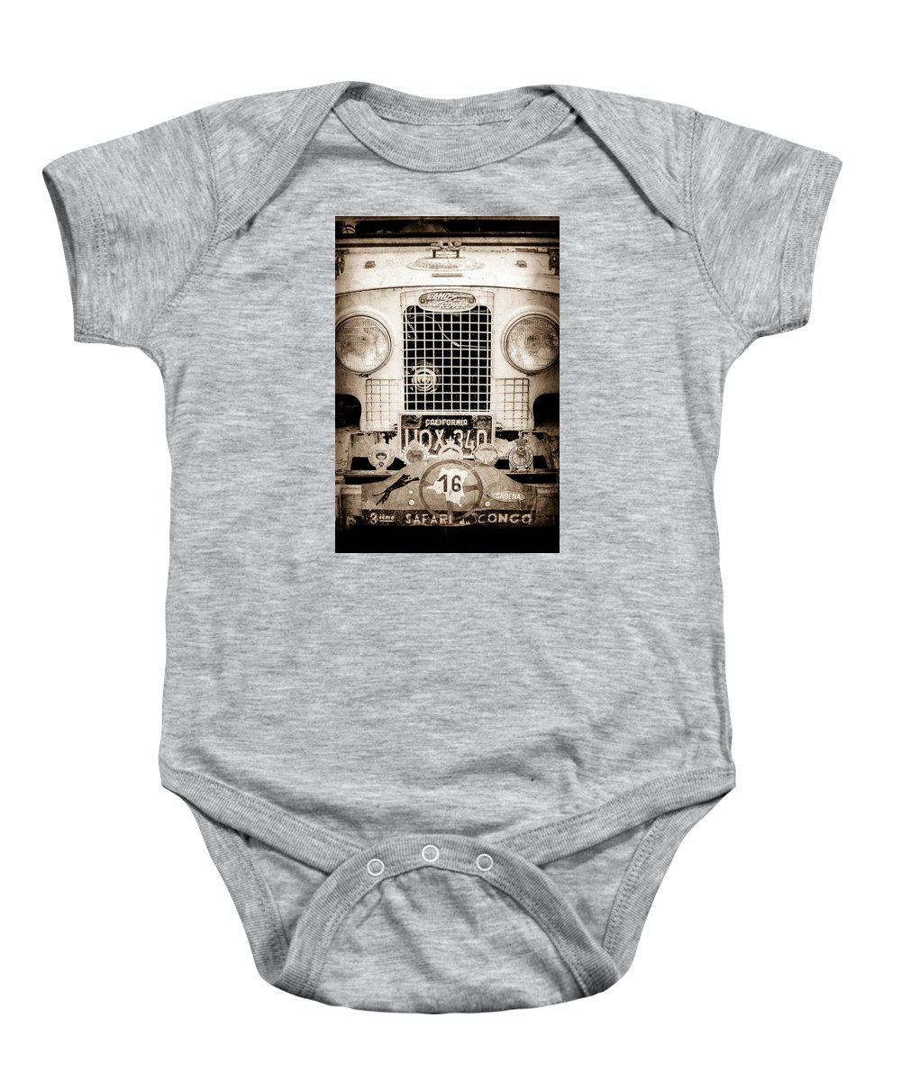 1952 Land Rover 80 Grille Baby Onesie featuring the photograph 1952 Land Rover 80 Grille -1003s by Jill Reger