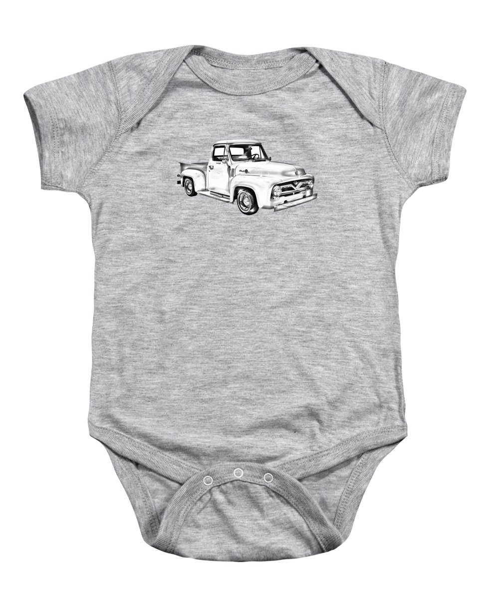 Ford F100 Pickup Truck Baby Onesie featuring the photograph 1955 F100 Ford Pickup Truck Illustration by Keith Webber Jr