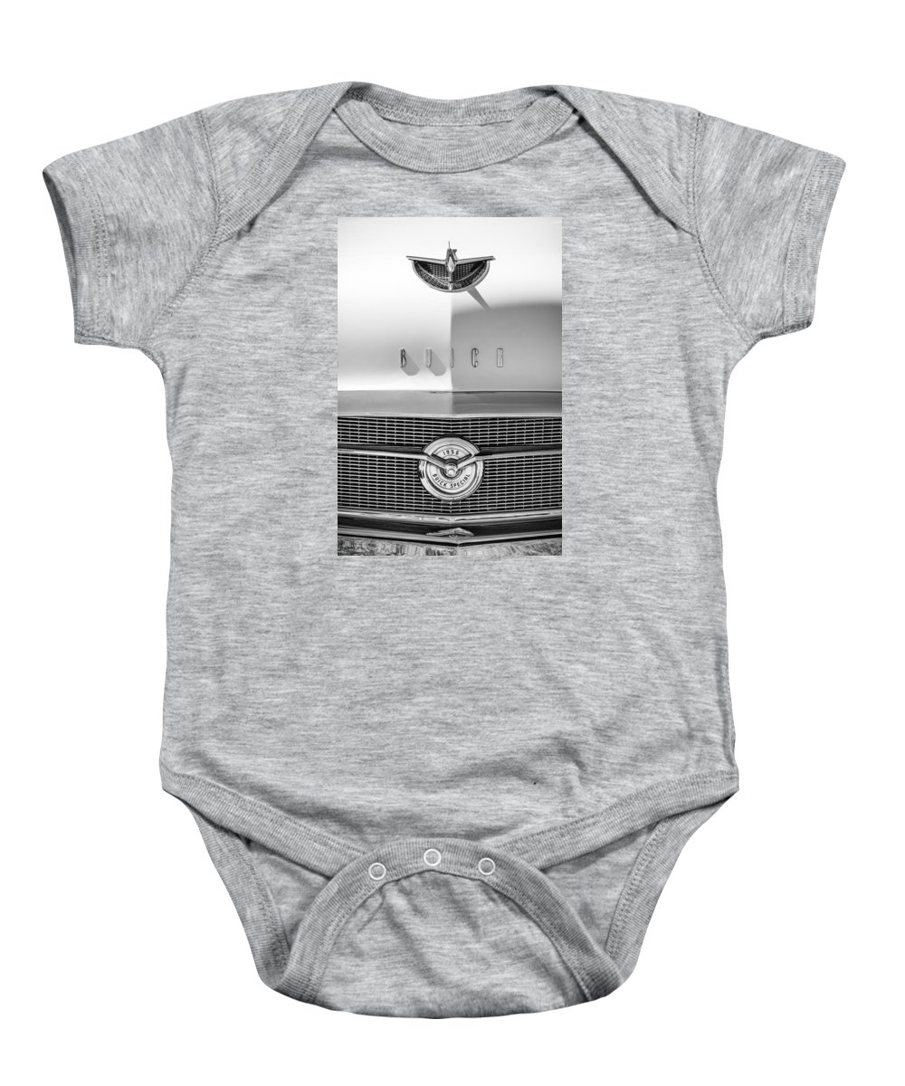 1956 Buick Special Hood Ornament Baby Onesie featuring the photograph 1956 Buick Special Hood Ornament - Emblem -0538bw by Jill Reger