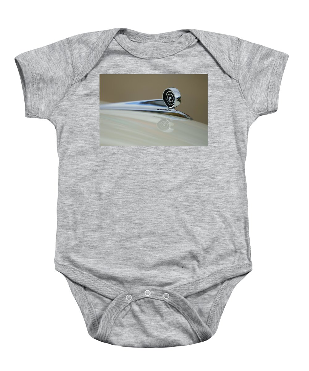 1957 Ford Baby Onesie featuring the photograph 1957 Ford Hood Ornament by Jill Reger
