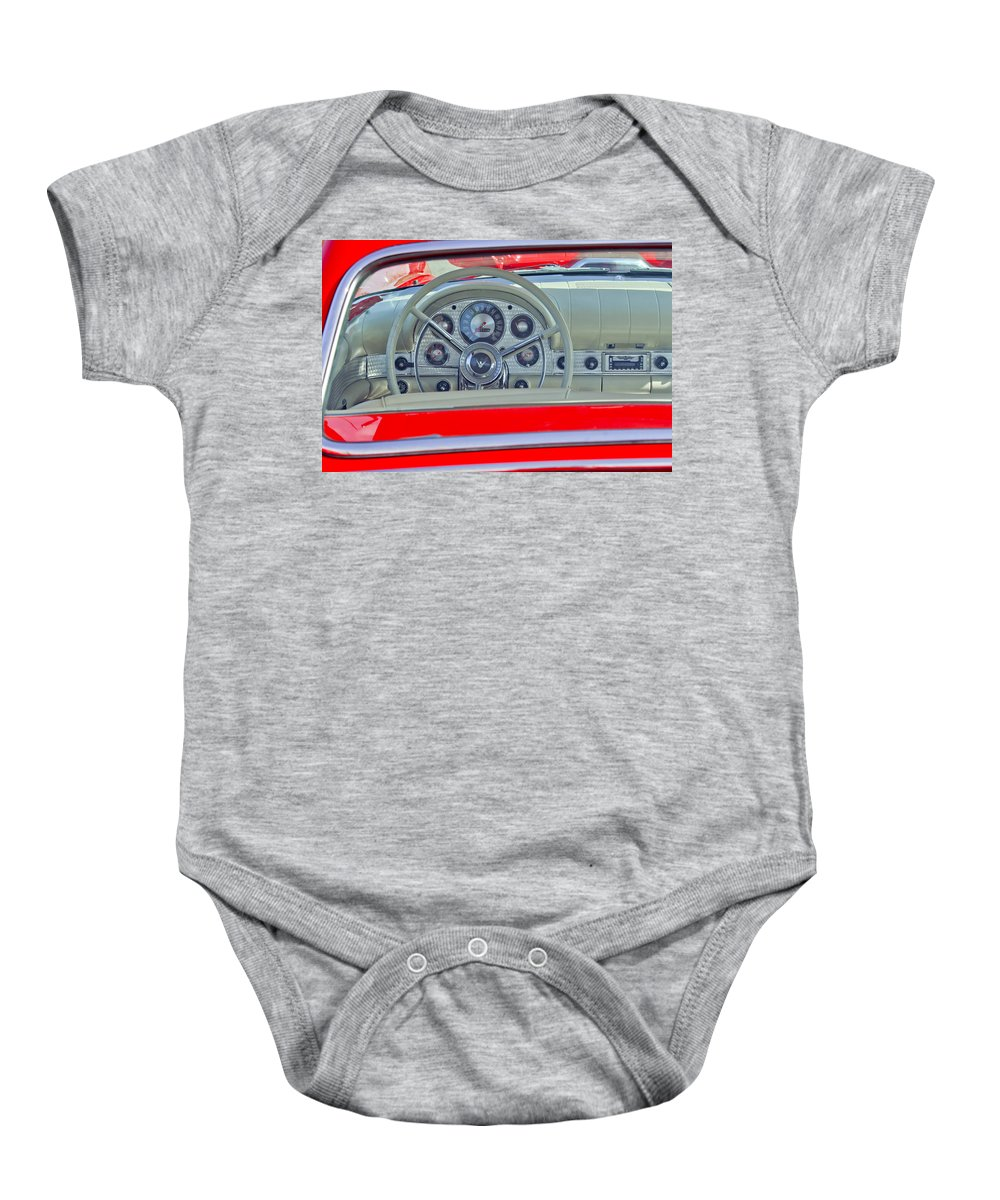 1957 Ford Thunderbird Baby Onesie featuring the photograph 1957 Ford Thunderbird Steering Wheel by Jill Reger