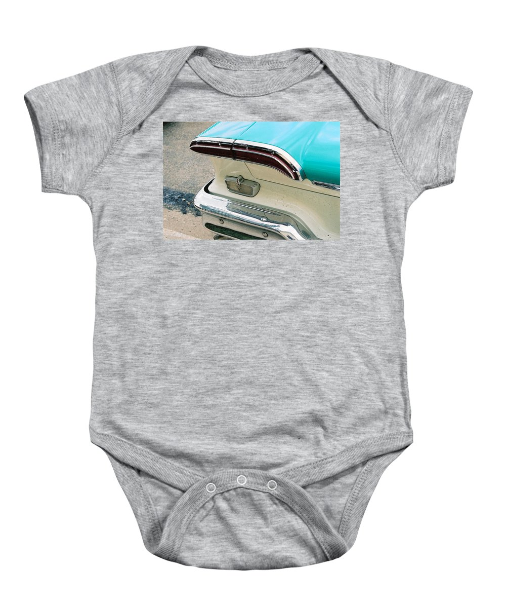 1958 Edsel Baby Onesie featuring the photograph 1958 Edsel Pacer Tail Light by Lauri Novak