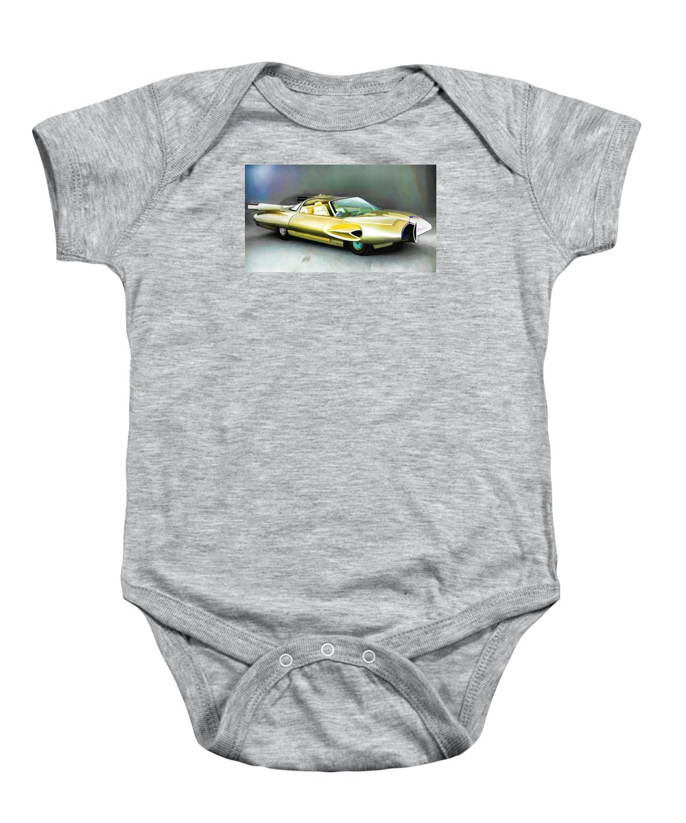 Ford Baby Onesie featuring the painting 1958 Ford Automobile by Jeelan Clark