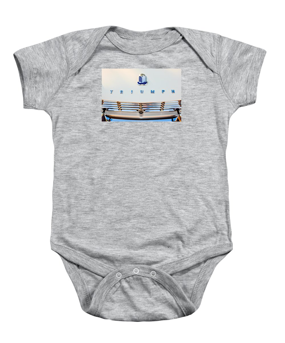 1965 Triumph Tr-4 Baby Onesie featuring the photograph 1965 Triumph Tr-4 Hood Ornament by Jill Reger