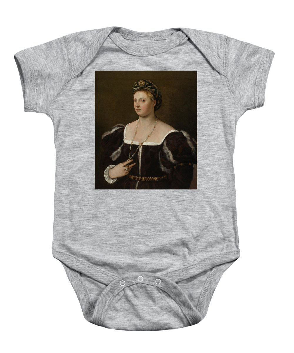 Tiziano Vecellio Baby Onesie featuring the painting A Portrait Of A Lady by MotionAge Designs