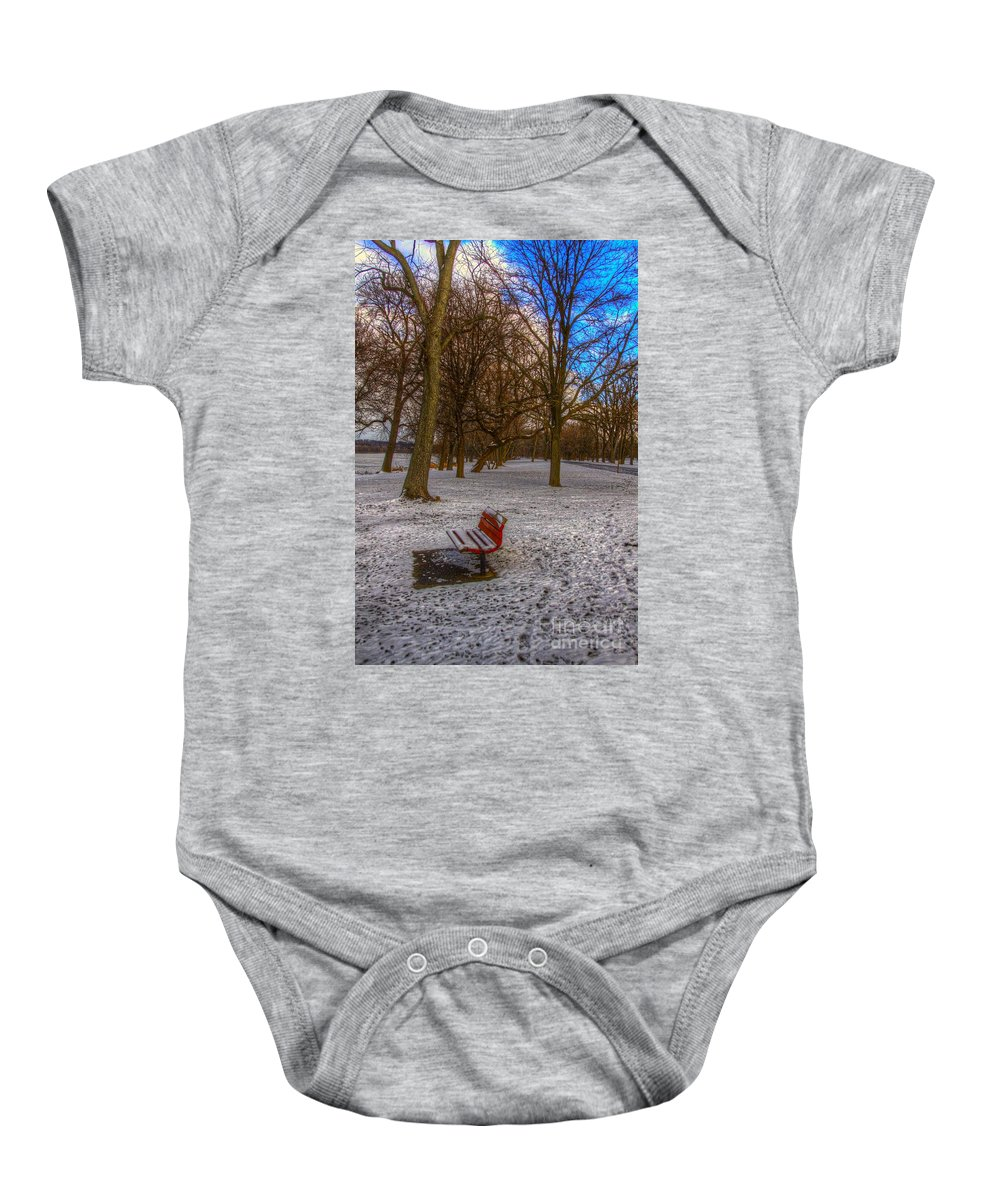 Park Baby Onesie featuring the photograph Alone by Robert Pearson