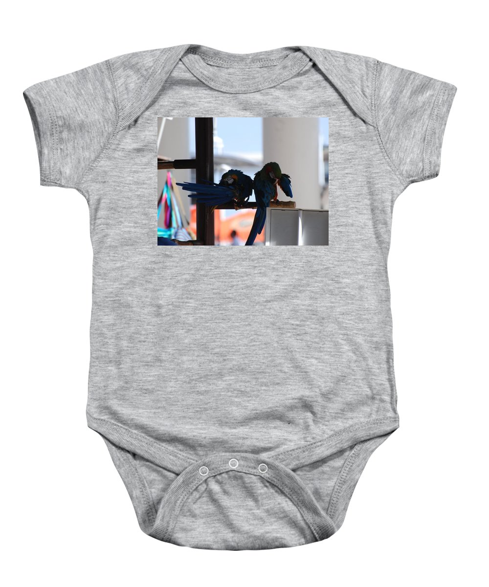 Mac Caw Baby Onesie featuring the photograph 2 Birds by Rob Hans