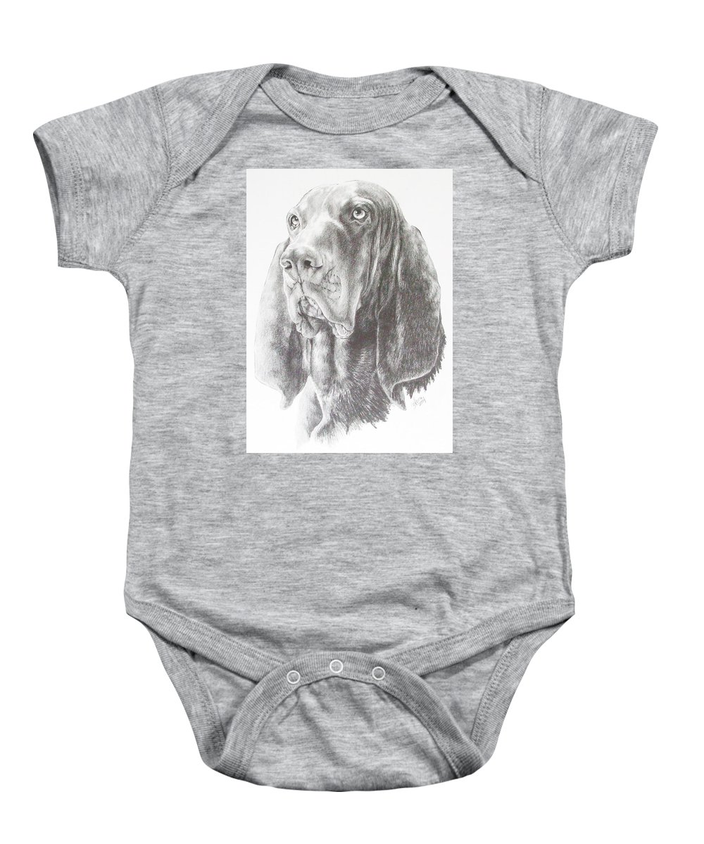 Purebred Dogs Baby Onesie featuring the drawing Black And Tan Coonhound by Barbara Keith