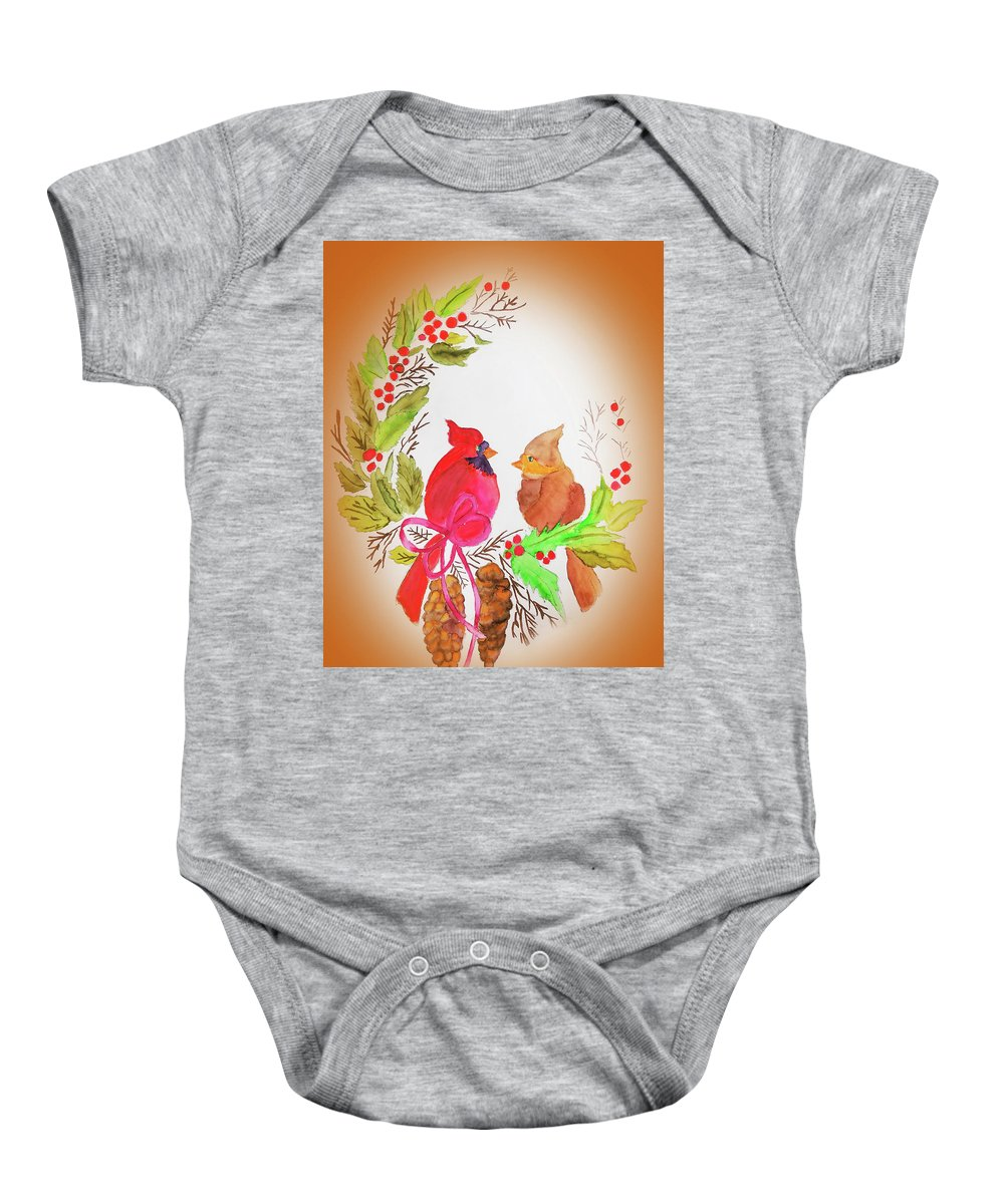 Baby Onesie featuring the painting Cardinals Painted By Linda Sue by Linda Sue Bruton