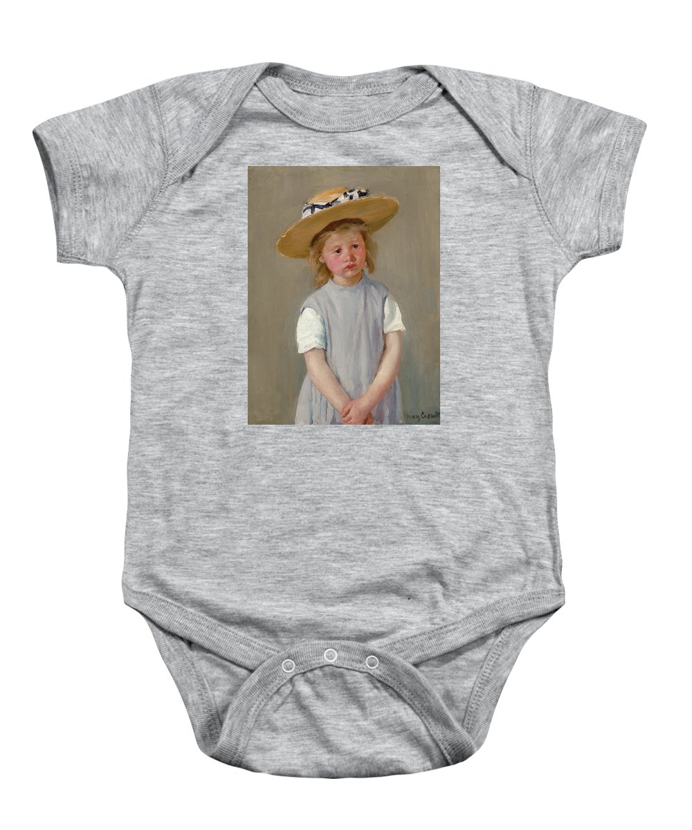 Mary Cassatt Baby Onesie featuring the painting Child In A Straw Hat by Mary Cassatt
