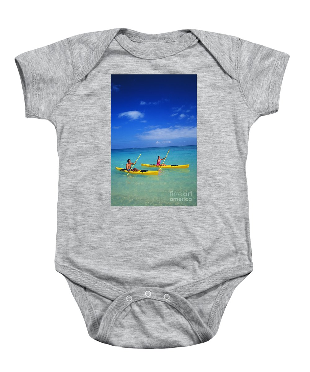 Above Baby Onesie featuring the photograph Couple Paddling by Kyle Rothenborg - Printscapes