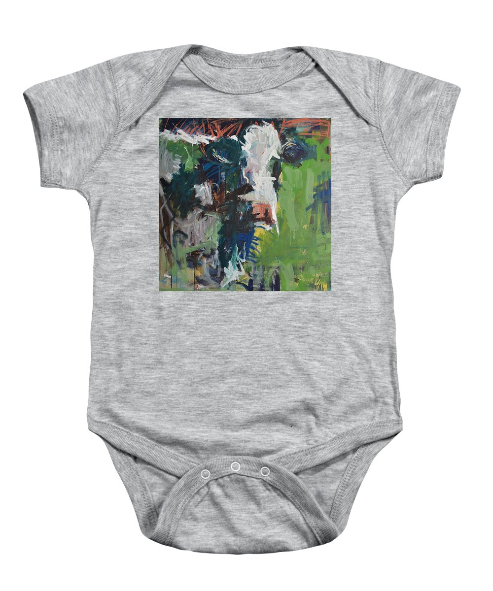 Art Baby Onesie featuring the painting Cow Painting by Robert Joyner