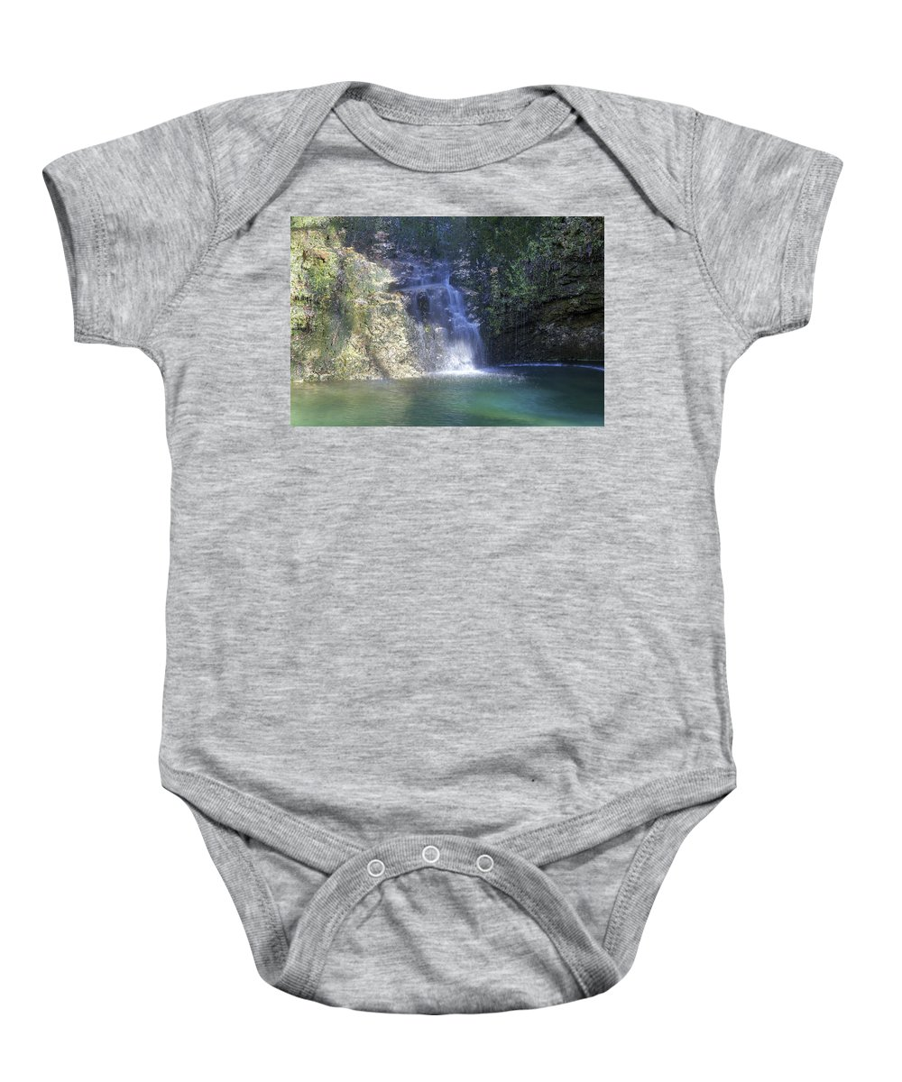 Dripping Springs Falls Baby Onesie featuring the photograph Dripping Springs Falls by Michael Munster