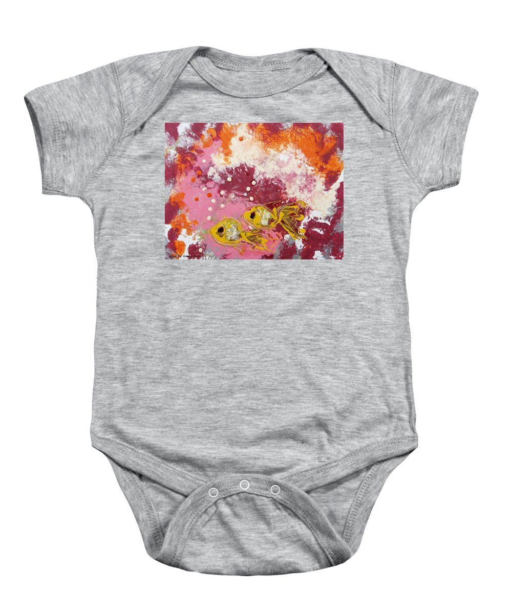 Fish Baby Onesie featuring the painting 2 Gold Fish by Gina De Gorna