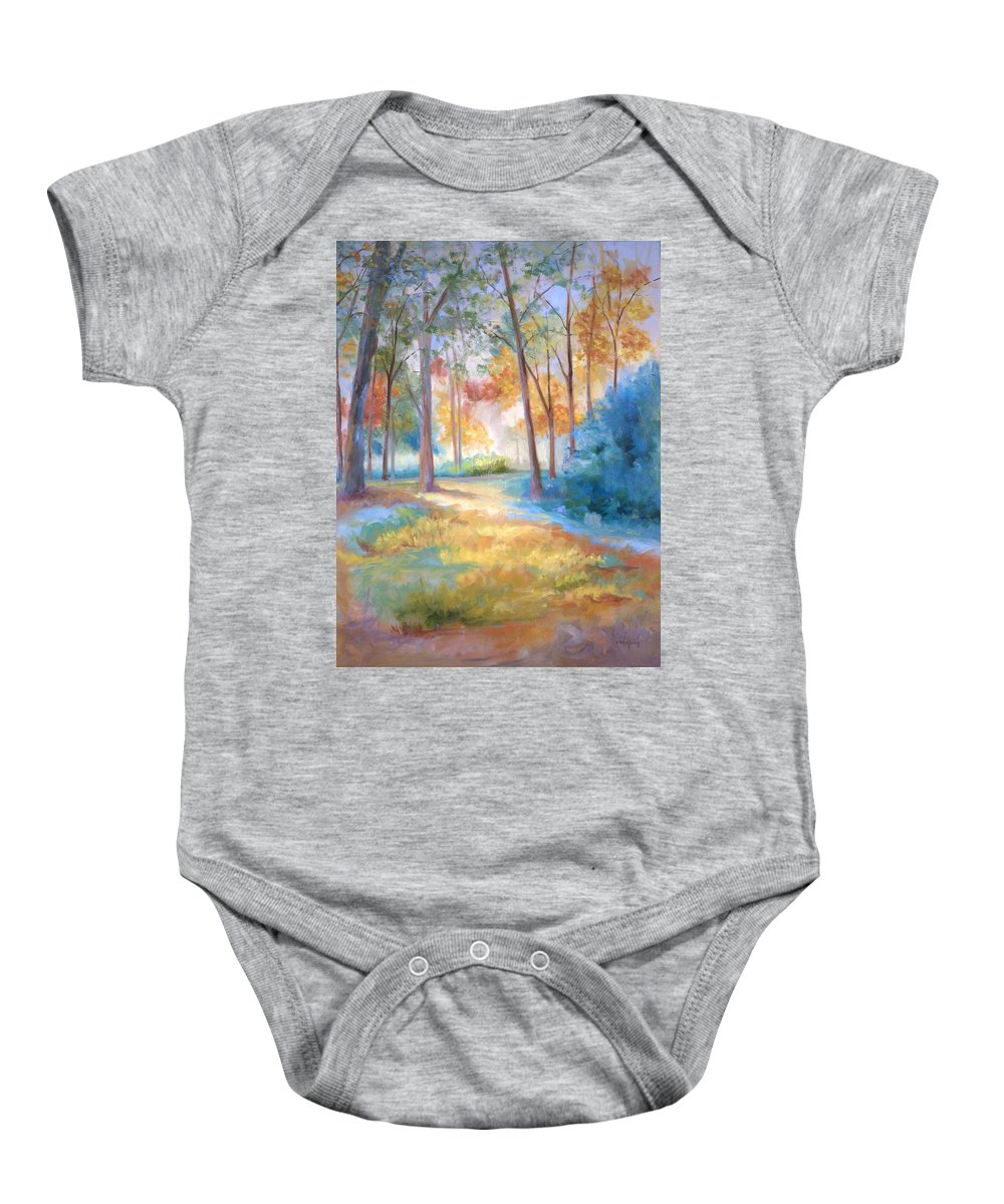 Wooded Paths Baby Onesie featuring the painting Homeward by Ginger Concepcion