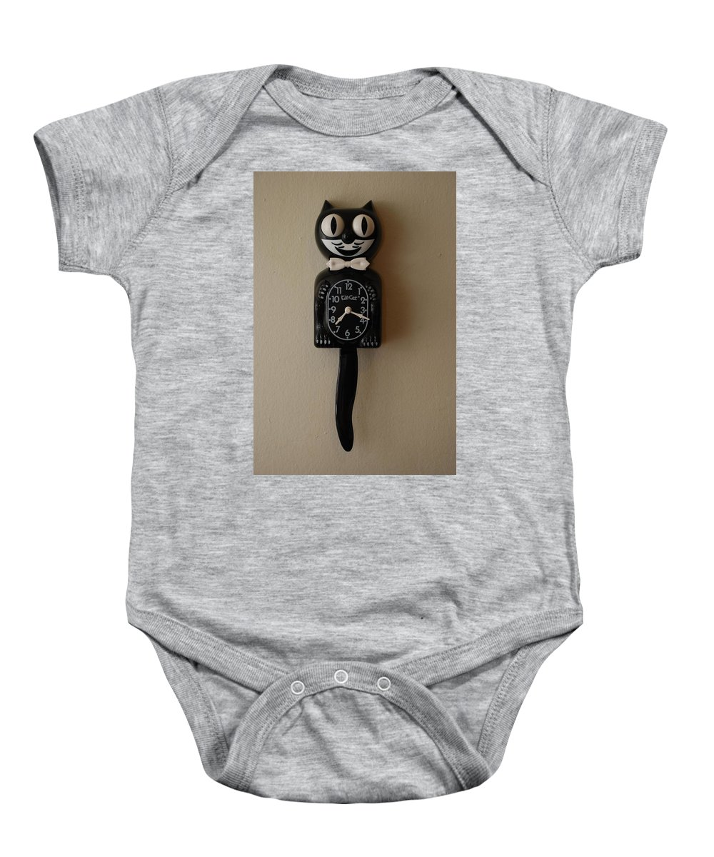 Face Baby Onesie featuring the photograph Kit Cat Klock by Rob Hans