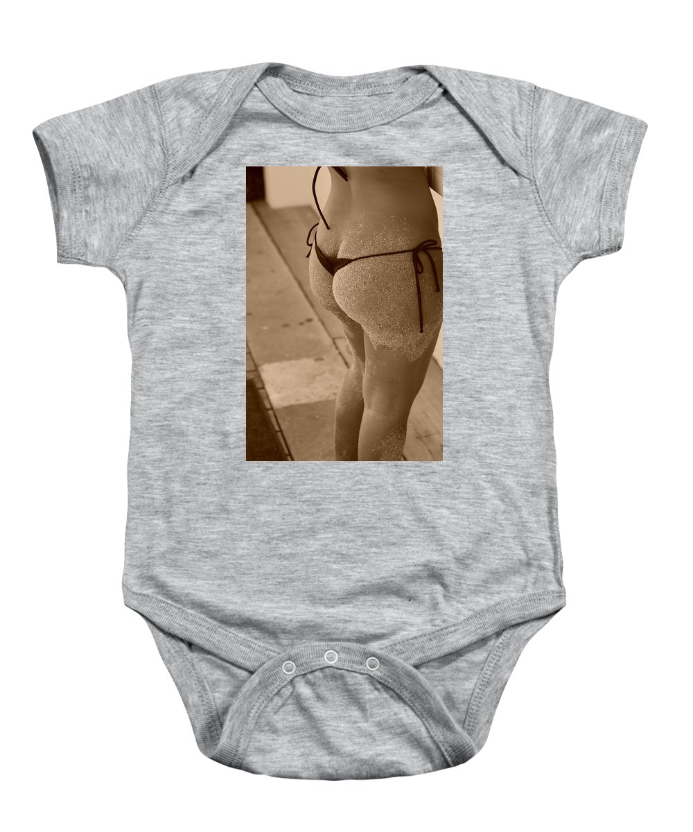 Sepia Baby Onesie featuring the photograph L W Thong by Rob Hans