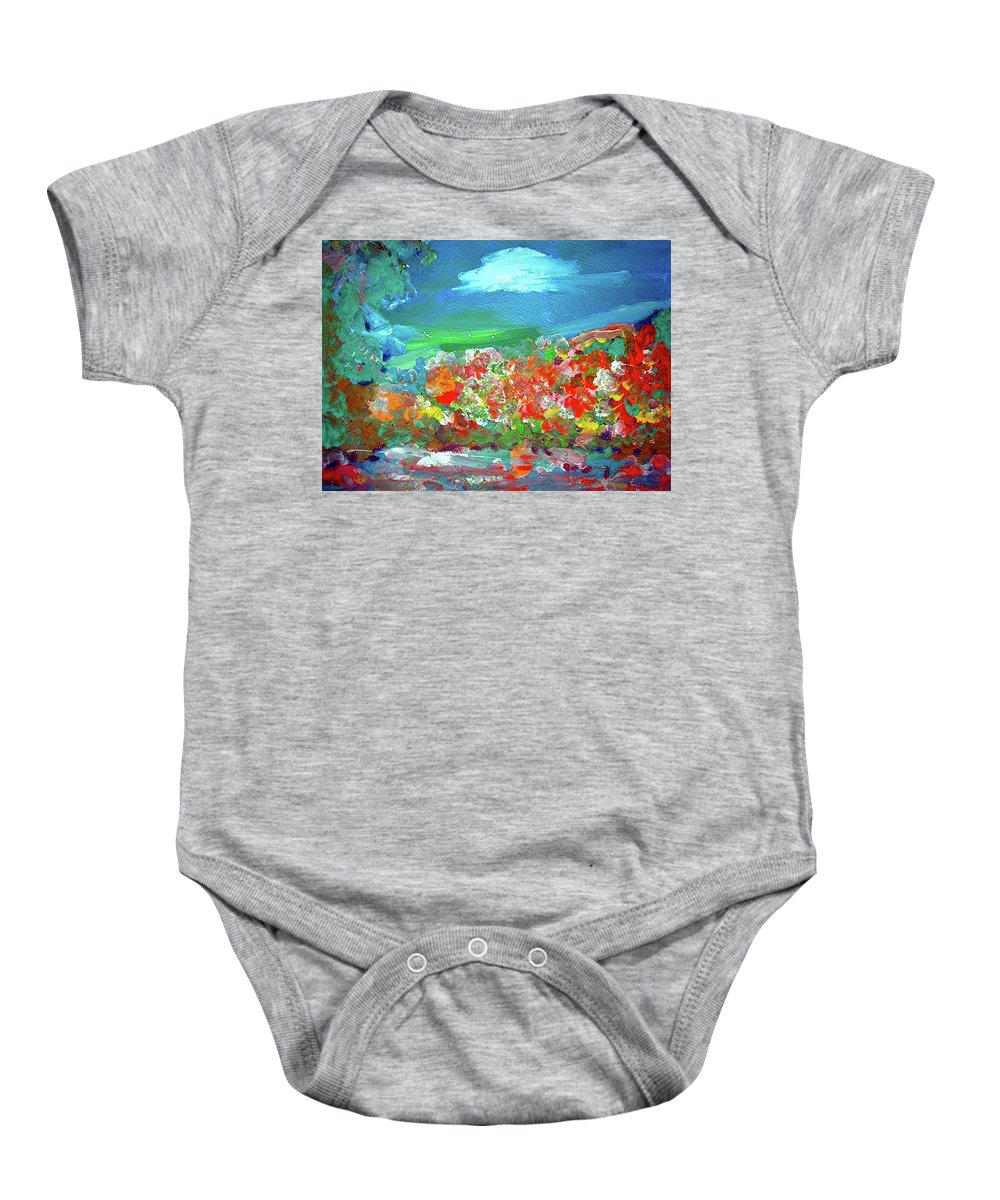 Landscape Baby Onesie featuring the painting Landscape by Maria Rom