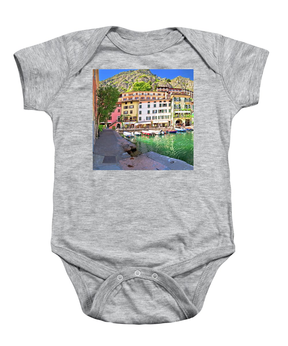 Limone Baby Onesie featuring the photograph Limone Sul Garda Turquoise Harbor Panoramic View by Brch Photography