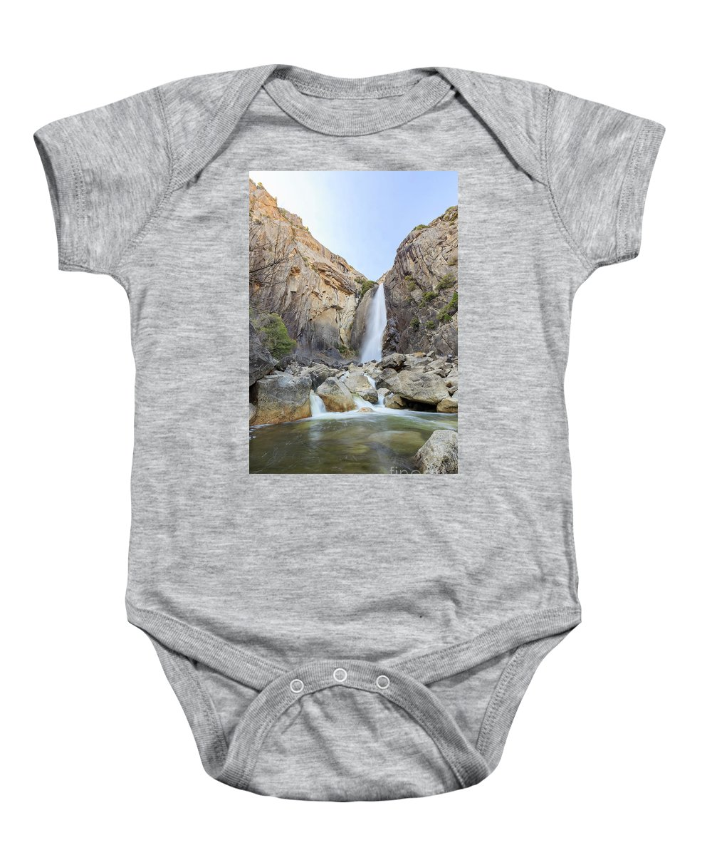 Madera Baby Onesie featuring the photograph Lower Yosemite Fall In The Famous Yosemite by Chon Kit Leong