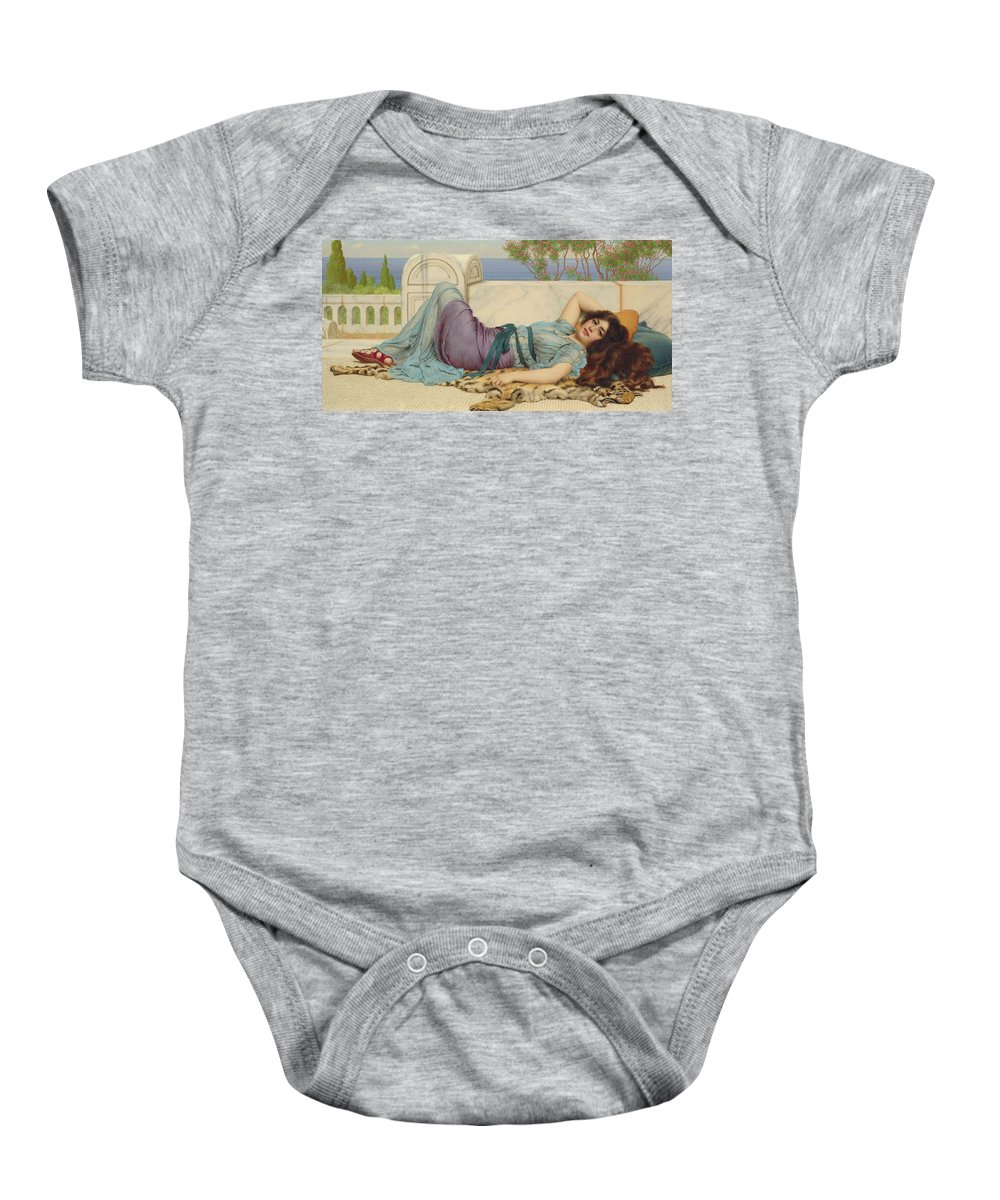 Mischief And Repose Baby Onesie featuring the painting Mischief And Repose by John William Godward