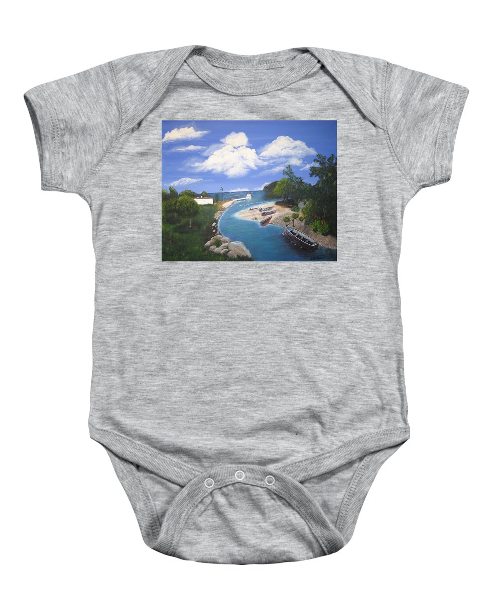 Negril Baby Onesie featuring the painting Negril Jamaica by Debbie Levene