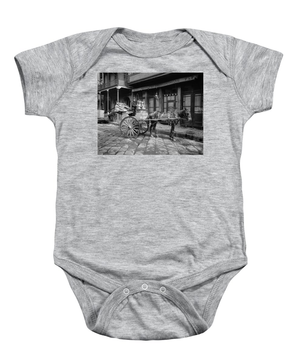 1903 Baby Onesie featuring the photograph New Orleans: Milk Cart by Granger