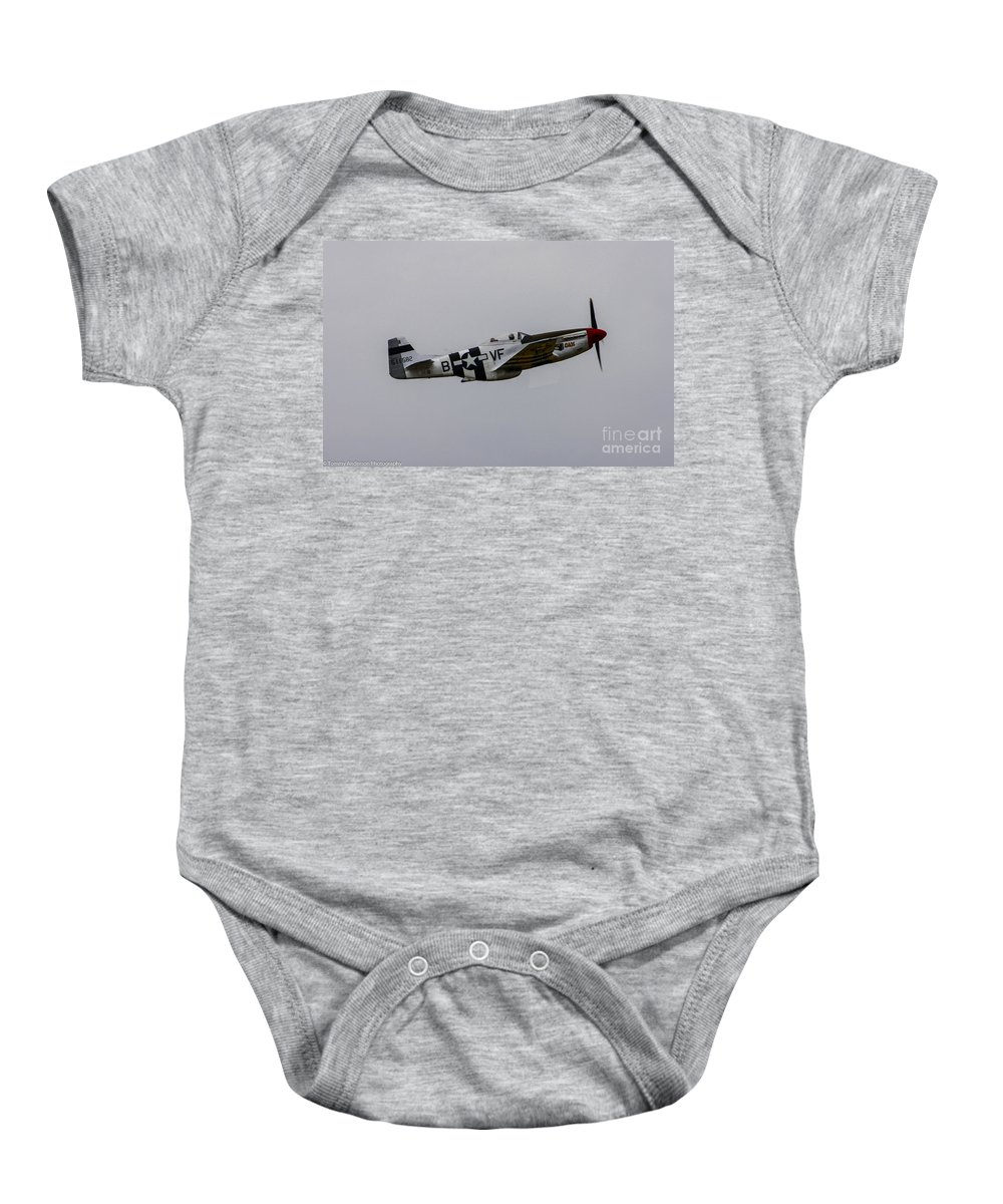 Usaaf Baby Onesie featuring the photograph P-51d Mustang by Tommy Anderson