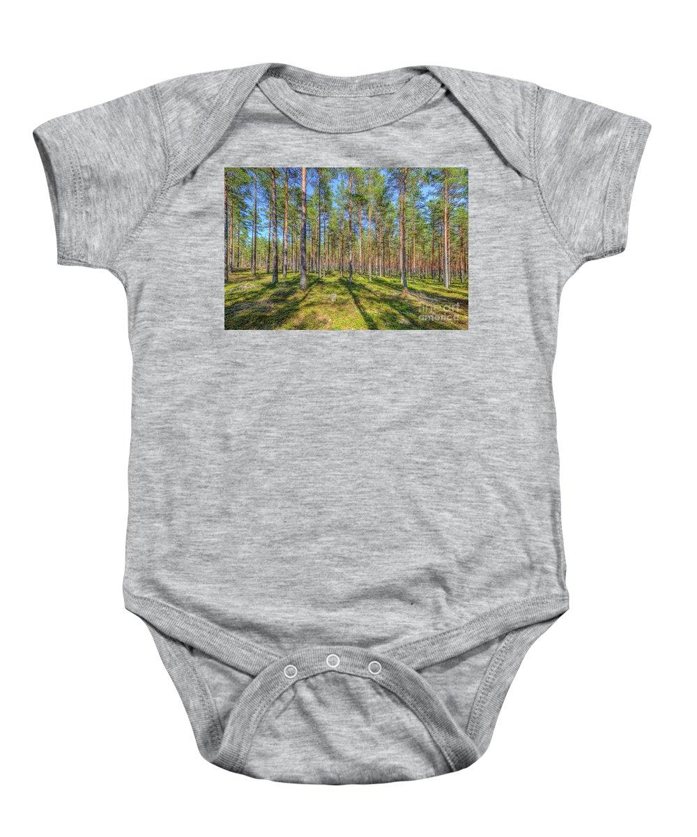 Atmosphere Baby Onesie featuring the photograph Pinewood by Veikko Suikkanen