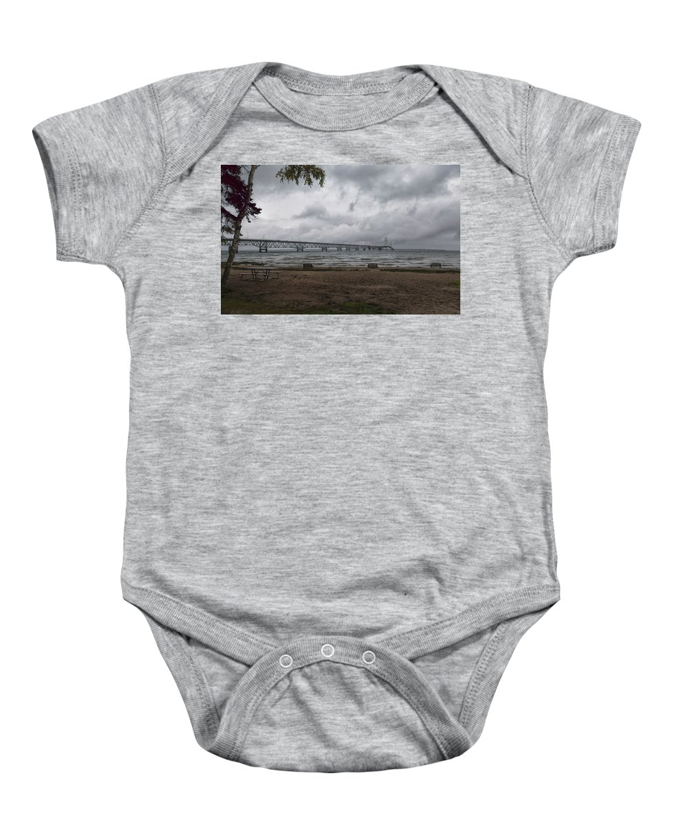 John Bailey Baby Onesie featuring the photograph Straits Of Mackinac by John M Bailey