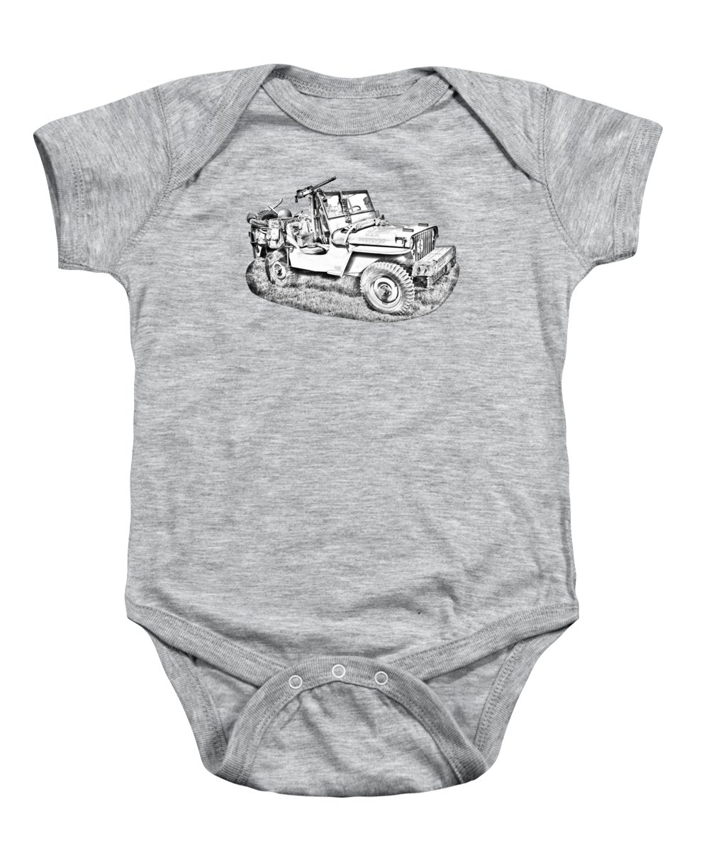 Army Baby Onesie featuring the photograph Willys World War Two Army Jeep Illustration by Keith Webber Jr