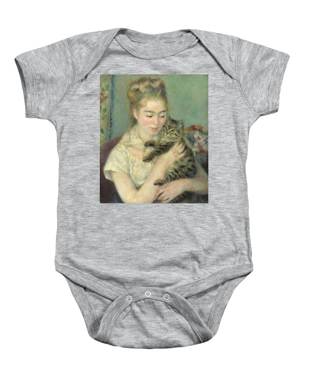 Auguste Renoir Baby Onesie featuring the painting Woman With A Cat by Auguste Renoir