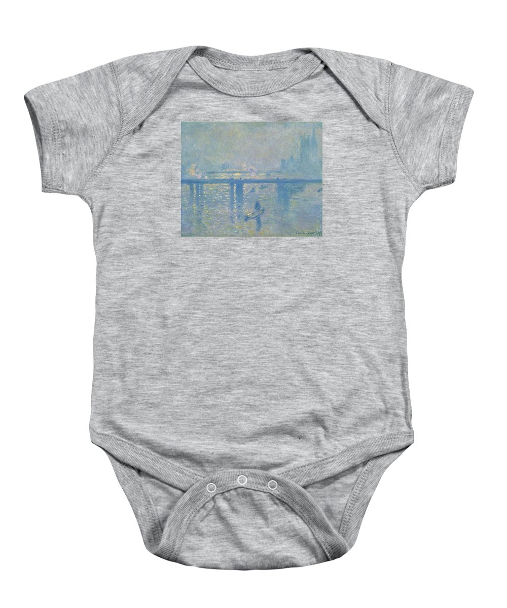 Claude Monet Baby Onesie featuring the painting Charing Cross Bridge by Claude Monet