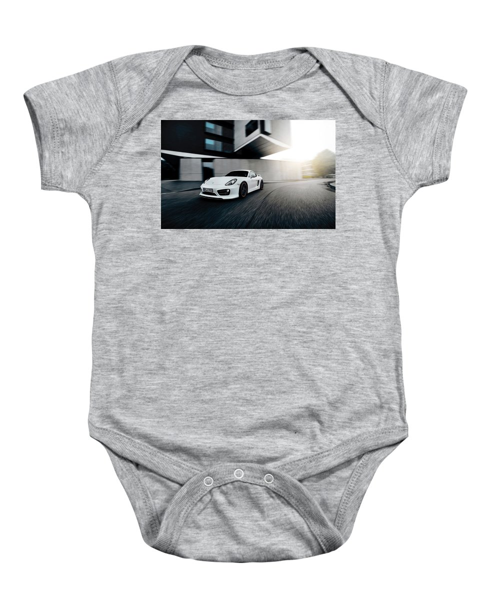 Baby Onesie featuring the digital art 2014 Techart Porsche Cayman by Alice Kent