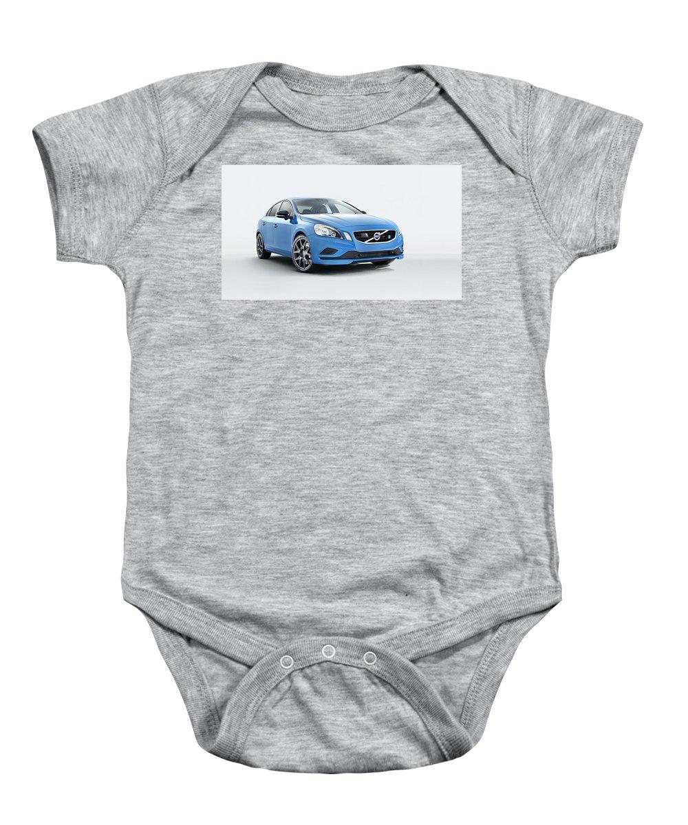 Baby Onesie featuring the digital art 2014 Volvo S60 Polestar by Alice Kent
