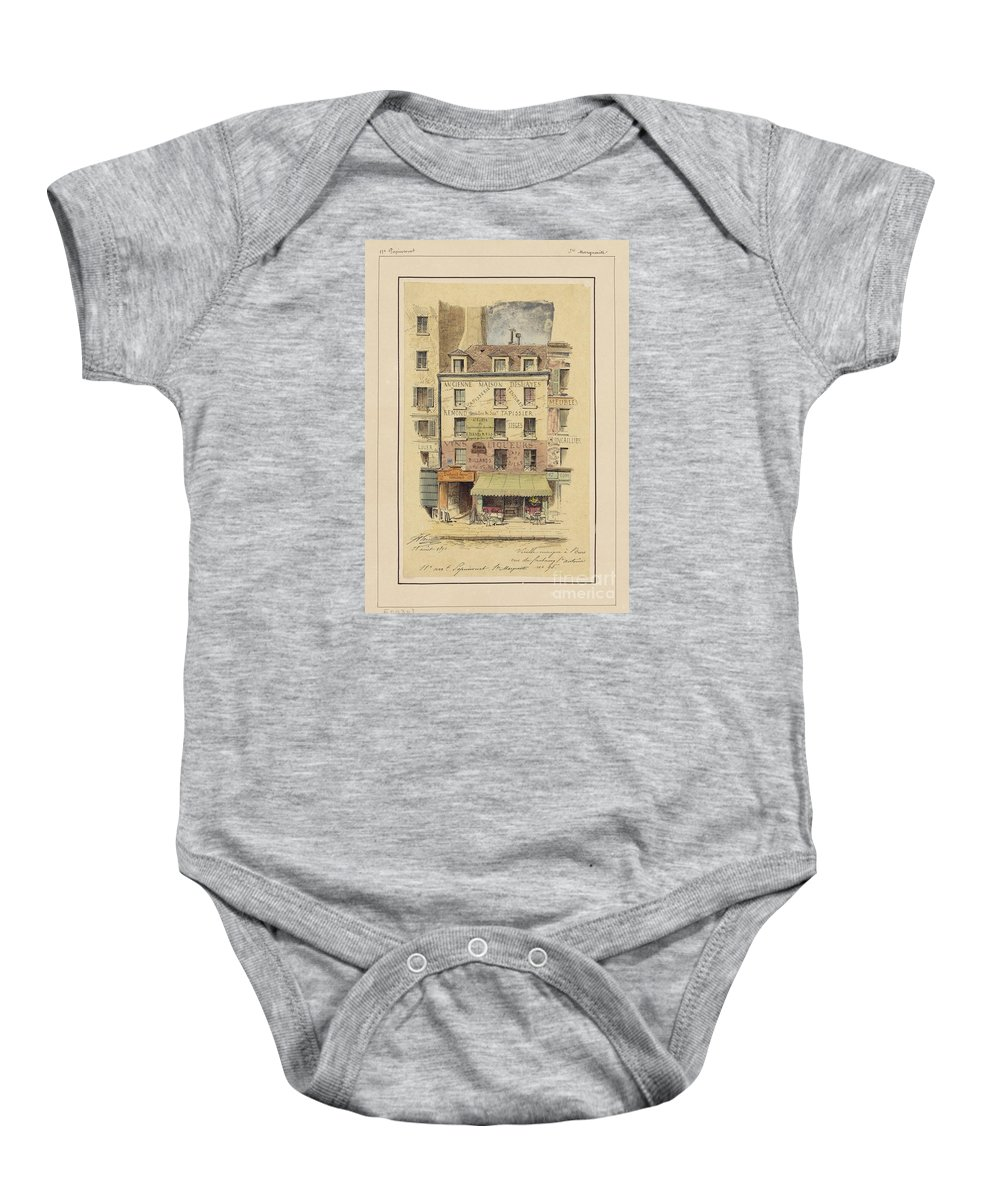 Drawn To Paris - Sketch Record Of Paris Buildings & Street Scenes From The 2nd Half Of The 19th Century - Rue Lepic � Montmartre - Entr�e Du Moulin Debray (bal Public) (1880) Baby Onesie featuring the painting Drawn To Paris by Celestial Images