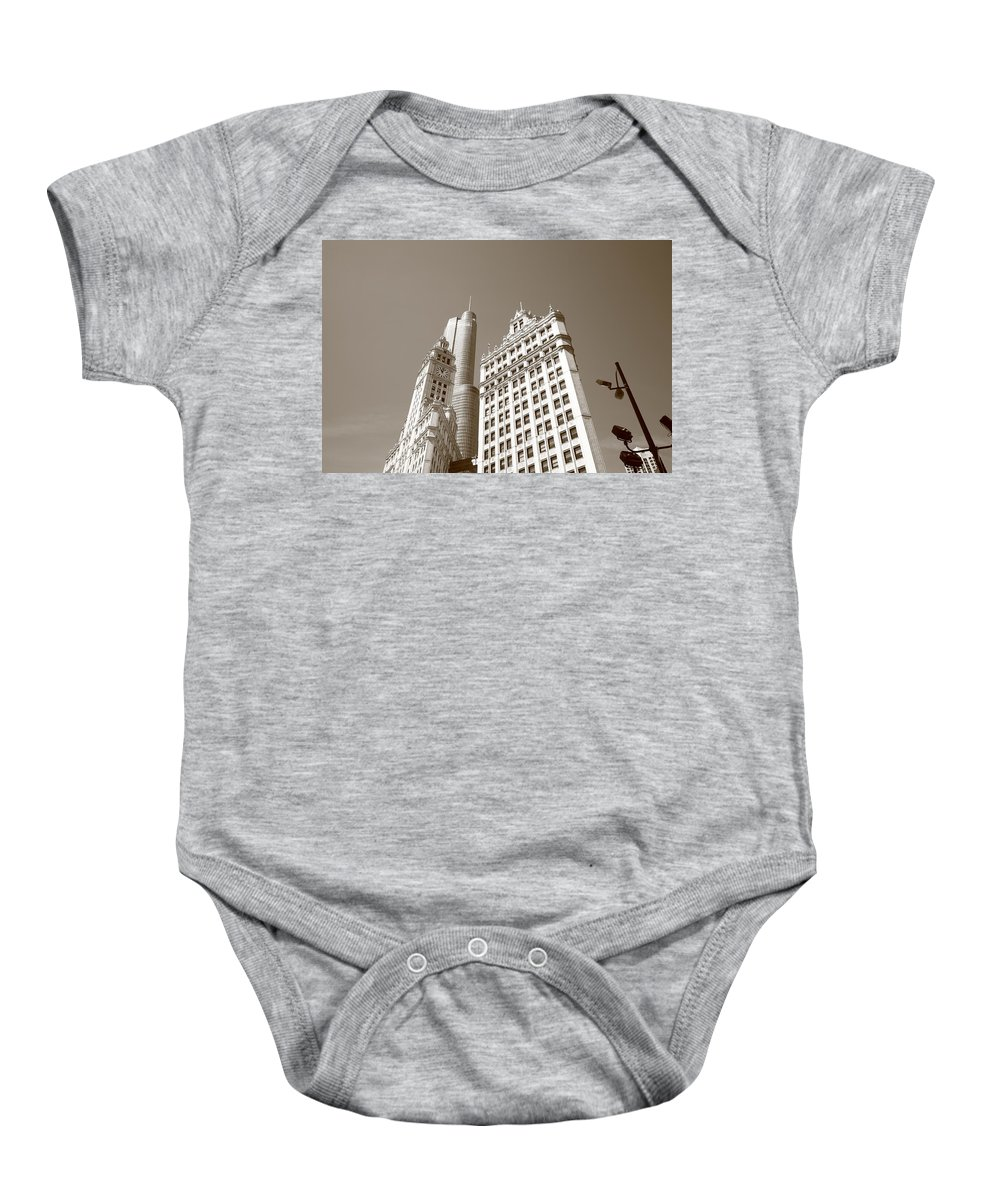 America Baby Onesie featuring the photograph Chicago Skyline by Frank Romeo