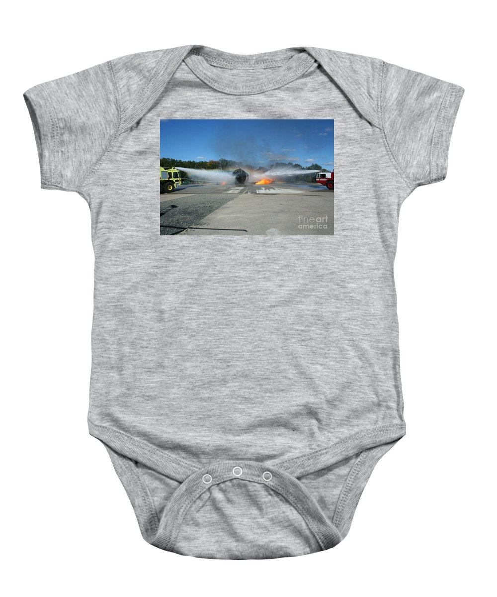 Firefighting Baby Onesie featuring the photograph Firefighting by Tommy Anderson