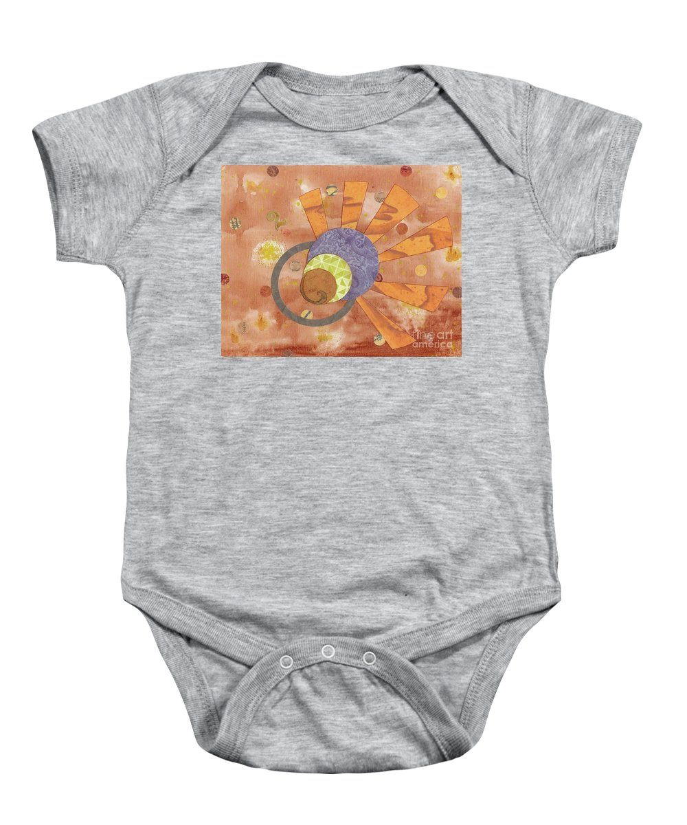 Orange Baby Onesie featuring the mixed media 2life by Desiree Paquette