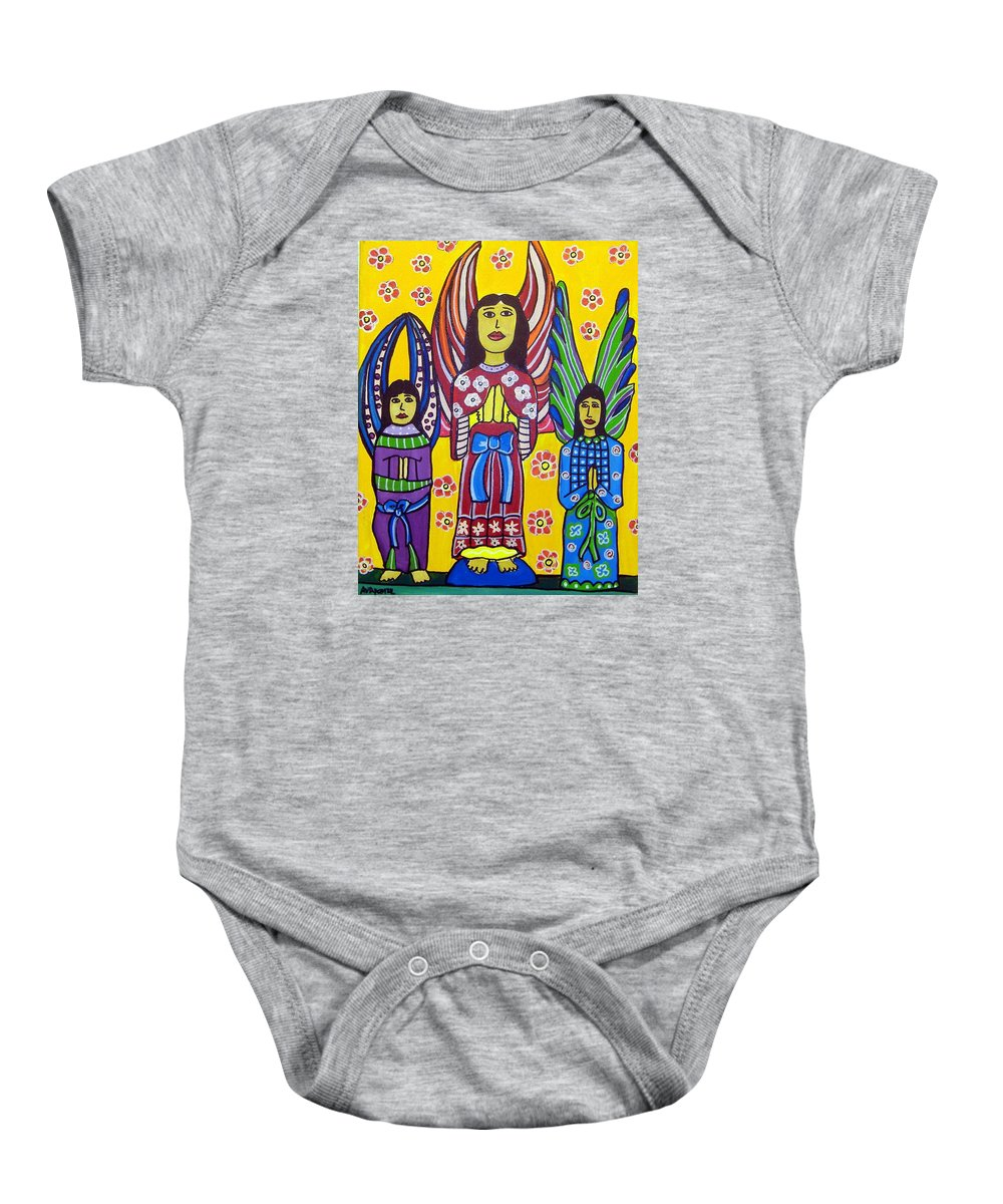 Angels Baby Onesie featuring the painting 3 Angels by Anggelyka Apostle